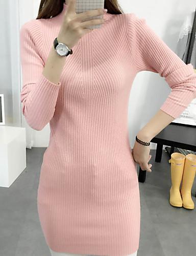 Dame Simpel I-byen-tøj / Casual/hverdag Lang Pullover Ensfarvet,Rosa / Hvid / Sort / Grå / Orange Rullekrave Langærmet Rayon Efterår