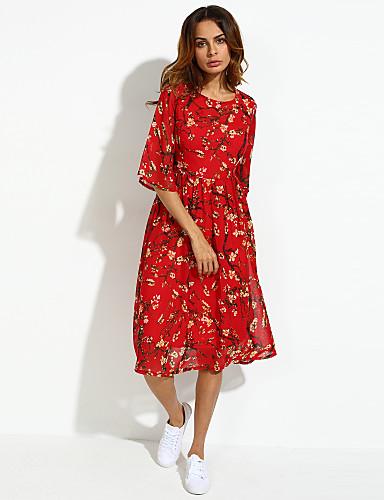 Mulheres Vestido Tamanhos Grandes / Chifon Boho / Moda de Rua Floral Médio Decote Redondo Seda