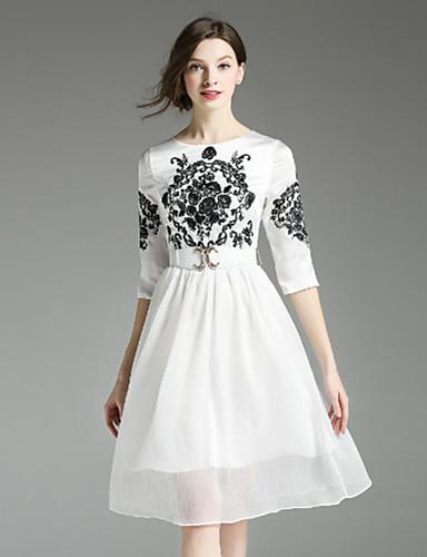 Swing Dress Fritid/hverdag Vintage Kvinner,Broderi Rund hals Knelang Halvlange ermer Hvit / Sort Polyester Høst
