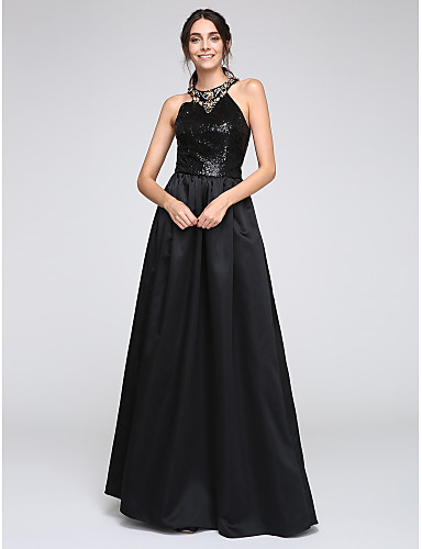 A-Line Jewel Neck Floor Length Satin Sequined Formal Evening Dress with Beading Sequins by TS Couture®