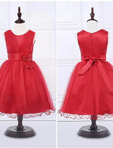 Kjole kjole te længde blomst pige kjole - organza ermeløs juvel hals med blomst