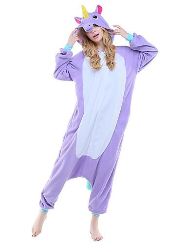 ราคาถูก แนะนำโดยบล็อกเกอร์-ผู้ใหญ่ Kigurumi Pajama Unicorn รูปสัตว์ Onesie Pajama Polar Fleece สีม่วง / ฟ้า / สีชมพู คอสเพลย์ สำหรับ ผู้ชายและผู้หญิง สัตว์ชุดนอน การ์ตูน Festival / Holiday เครื่องแต่งกาย