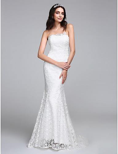בתולת ים \ חצוצרה סטרפלס שובל סוויפ \ בראש תחרה שמלת חתונה עם תחרה על ידי LAN TING BRIDE®