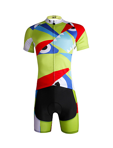 cheap Cycling Clothing-ILPALADINO Men's Short Sleeve Cycling Jersey with Shorts - Light Green Bike Jersey Clothing Suit Breathable Quick Dry Ultraviolet Resistant Sports 100% Polyester Lycra Mountain Bike MTB Road Bike