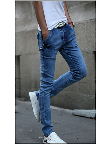 Masculino Jeans Casual Cor Solida Algodão Azul