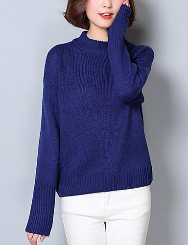 Dame Street I-byen-tøj Normal Pullover Ensfarvet,Blå / Rød / Brun Rund hals Langærmet Akryl Forår / Efterår Medium