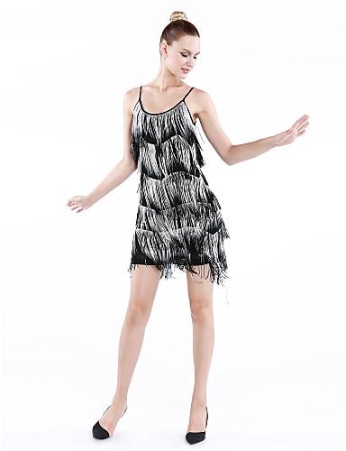 Dança Latina Vestidos Mulheres Actuação Nailon Elastano Fibra de Leite 1 Peça Sem Mangas Vestido