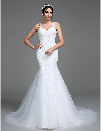 Trompete / Meerjungfrau Riemen Hof Schleppe Tüll Hochzeitskleid mit Applikationen durch LAN TING BRIDE®