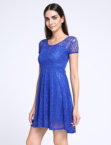 Kadın Dışarı Çıkma sofistike Dantel Elbise Solid,Kısa Kollu Yuvarlak Yaka Diz üstü Polyester Yaz Normal Bel Mikro-Esnek İnce
