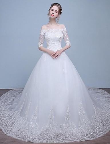 Linha A Bateau Neck Cauda Capela Renda Tule Vestido de casamento com Miçangas Renda de