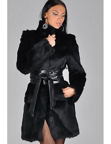 Vrouwen Eenvoudig Winter Bontjas,Casual/Dagelijks Opstaand-Lange mouw Zwart Patchwork Dik Imitatiebont