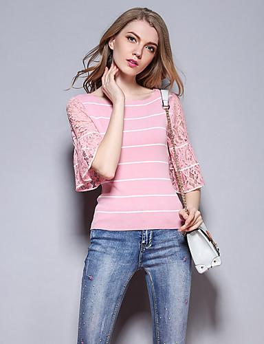 Dame Simpel Sødt I-byen-tøj Afslappet/Hverdag Normal Pullover Stribet,Rosa Rund hals 1/2 ærmelængde Bomuld Rayon Nylon Sommer Efterår