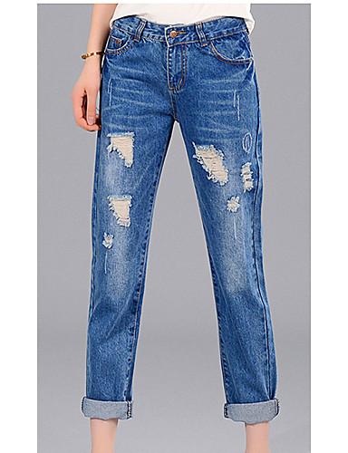 Eenvoudig-Katoen-Micro-elastisch-Jeans-Broek-Vrouwen