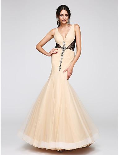 צמוד ומתרחב צווארון וי עד הריצפה טול נשף ערב רישמי שמלה עם חרוזים תחרה בד בהצלבה על ידי TS Couture®