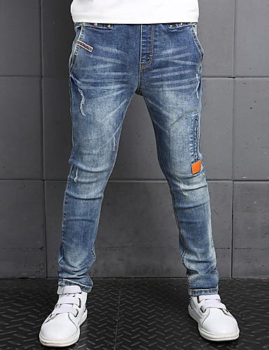 Jungen Hose Jeans Alltag Solide Baumwolle Winter Frühling Herbst Ganzjährig Blumig Blau
