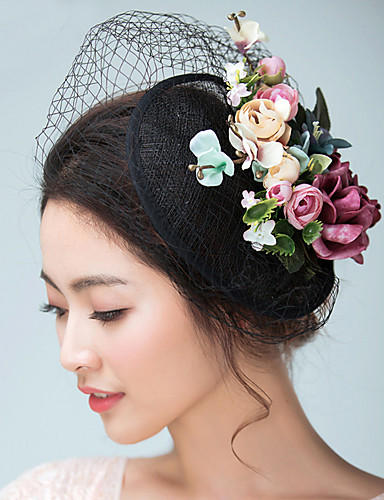 cheap Wedding Accessories-Flax / Satin Fascinators / Hats / Headwear with Floral 1pc Wedding / Special Occasion Headpiece