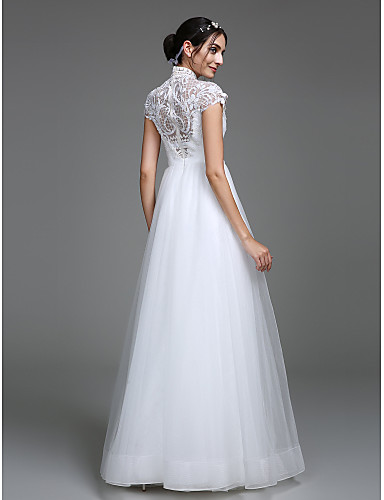 Corte en A Escote Hasta el Suelo Corpiño en encaje Vestidos de novia hechos a medida con Diseño por LAN TING BRIDE®