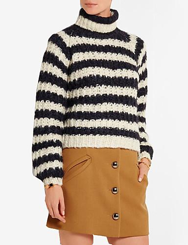 Damen Standard Pullover-Ausgehen Lässig/Alltäglich Einfach Street Schick Gestreift Rollkragen Langarm Andere Frühling Herbst Mittel