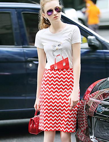 Dames Street chic Zomer Set Rok Suits,Casual/Dagelijks Print Ronde hals Korte mouw Wit Katoen / Polyester Dun