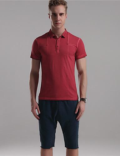 De heer D® Heren Overhemdkraag Korte mouw T-shirt Zilver / Grijs / Marine Blauw-6776