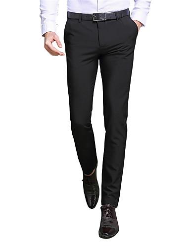 お買い得  メンズパンツ&ショーツ-男性用 スリム スーツ / スリム / ビジネス パンツ - ソリッド ブラック / ワーク