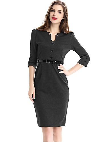 Damen Übergrössen Arbeit Street Schick Baumwolle Hülle Kleid Solide Knielang V-Ausschnitt