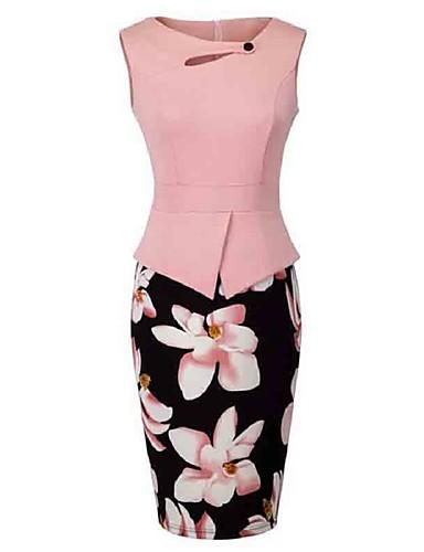 billige Blomstrede mønstre-Dame Plusstørrelser I-byen-tøj Skede Kjole - Blomstret, Udskæring Trykt mønster Knælang / Tynd
