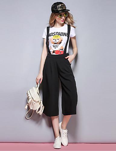Kvinders Simpel Straight Bukser Uelastisk Rayon / Polyester