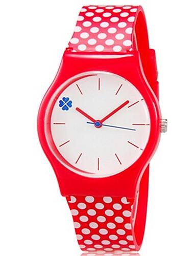 Børne Armbåndsur Modeur Quartz Farverig Plastik Bånd Punkt Slik Afslappet Sej Rød