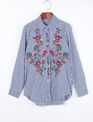 Vrouwen Chinoiserie Herfst Overhemd,Casual/Dagelijks Geborduurd Overhemdkraag Lange mouw Blauw Katoen Medium