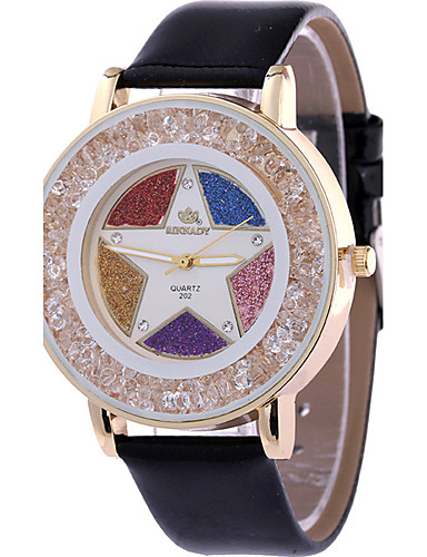 Mulheres Relógio de Moda Relógio de Pulso Relógio Casual Quartzo / Couro Banda Casual Legal Preta Branco Azul Vermelho Marrom Verde Rosa