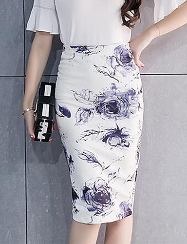 cheap Women's Skirts-Women's Going out Chinoiserie Plus Size Cotton Bodycon Skirts - Floral Split / Print White S M L / Slim