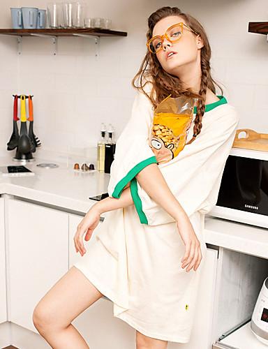 liangsanshi kvinders afslappet / daglig street chic sommer t-shirt, solid runde hals ¾ ærme beige bomuld tynd