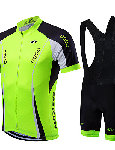 13ddc5de101f5 Fastcute Men s Short Sleeve Cycling Jersey with Bib Shorts - Light Green  Argyle Bike Clothing Suit Breathable Quick Dry Sports Coolmax® Lycra Argyle  ...