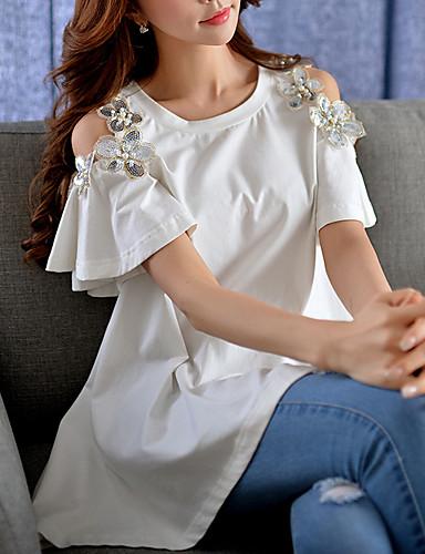 Damen Solide Street Schick Ausgehen T-shirt,Rundhalsausschnitt Sommer Kurzarm Blau / Rosa / Weiß Baumwolle / Elasthan Mittel