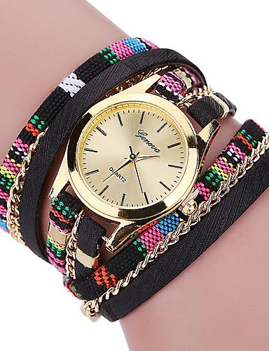 Damen Quartz Armband-Uhr / Armbanduhren für den Alltag Stoff Band Freizeit Böhmische Modisch Cool Schwarz Blau Rot Grau Rosa Lila