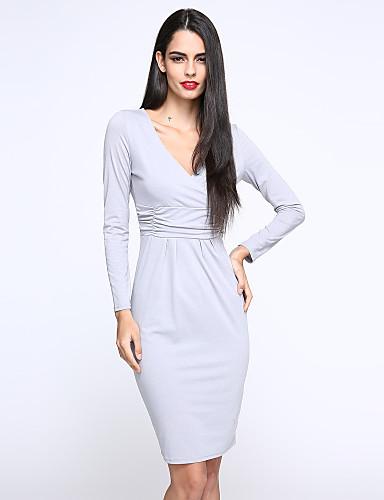 Γυναικείο Δουλειά Μπόχο Φαρδιά Θήκη Φόρεμα,Μονόχρωμο Μακρυμάνικο Λαιμόκοψη V Ως το Γόνατο Πολυεστέρας Spandex Καλοκαίρι Ψηλοκάβαλο