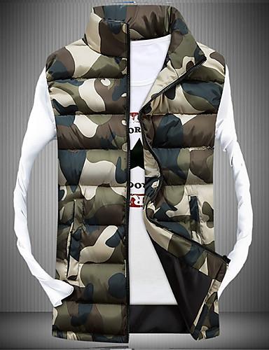 Polyester-Camouflage-Heren-Normaal-Gewatteerd-Jas-Mouwloos