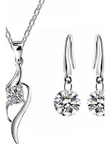 0ba9bda31b2f Γυναικεία Κρυστάλλινο Στρόγγυλα Κοσμήματα Σετ Ασήμι Στερλίνας
