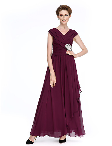 2dc4bae33fe A-Line V Neck Ankle Length Chiffon Mother of the Bride Dress with Criss  Cross   Crystal Brooch   Ruched by LAN TING BRIDE®