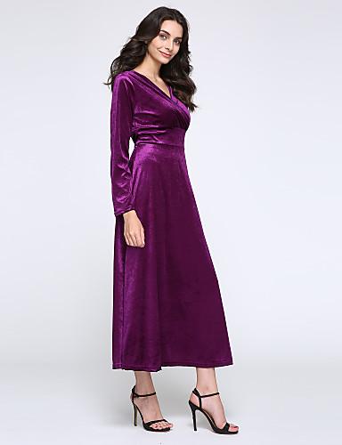 Kadın's Büyük Bedenler Salaş / Kılıf Elbise - Solid, Dantelli V Yaka Maksi Yüksek Bel / Sonbahar