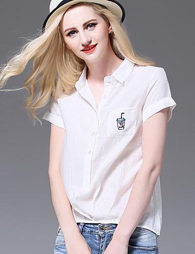 AJIDUO® Dame Krave Kort Ærme Shirt & bluse Ivory / Orange-A9532