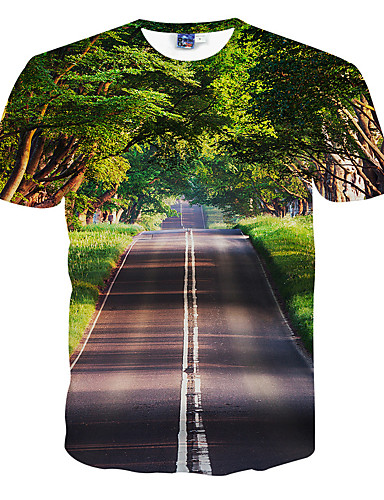 cheap Men's Tees & Tank Tops-Men's Active Slim T-shirt - 3D Print Round Neck Green L / Short Sleeve / Summer