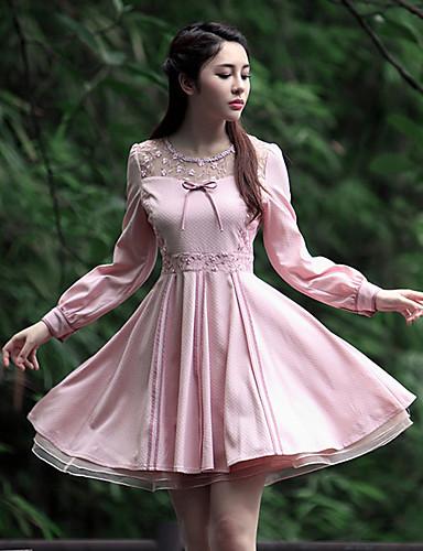Dame Vintage I-byen-tøj Skede Kjole Broderi,Rund hals Knælang Langærmet Rosa Polyester Sommer Højtaljede Uelastisk Medium