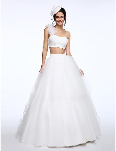 A-Linie Zweiteiler Ein-Schulter Pinsel Schleppe Spitze Tüll Hochzeitskleid mit Blume durch LAN TING BRIDE®