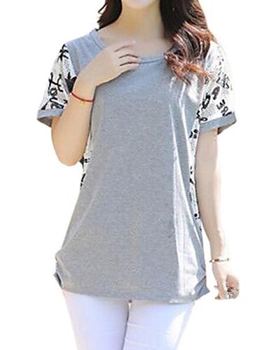 Veći konfekcijski brojevi Majica s rukavima Žene Kolaž Naborano Pamuk