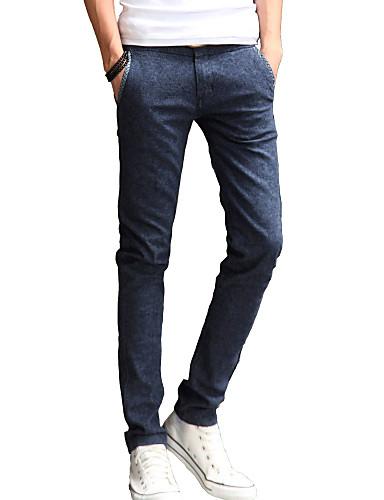 Herre Bomull Lin Jeans Bukser Ensfarget