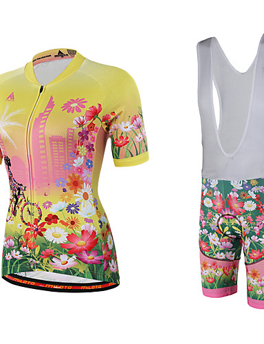 cheap Cycling Clothing-Miloto Women's Short Sleeve Cycling Jersey with Bib Shorts - Yellow Floral Botanical Plus Size Bike Bib Shorts Jersey Bib Tights Breathable Quick Dry Sweat-wicking Sports Polyester Lycra Floral