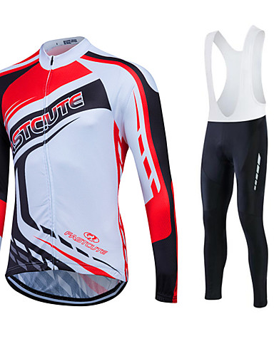 cheap Cycling Clothing-Fastcute Men's Long Sleeve Cycling Jersey - Black Bike Clothing Suit Thermal / Warm Windproof Fleece Lining Breathable 3D Pad Winter Sports Polyester Velvet Fleece Sports Mountain Bike MTB Road Bike