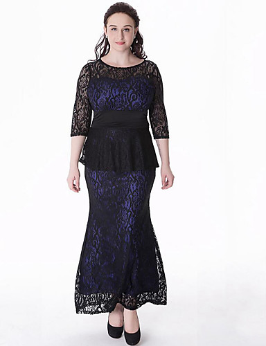 voordelige Grote maten jurken-Dames Grote maten Schede Jurk - Patchwork, Cut Out Maxi